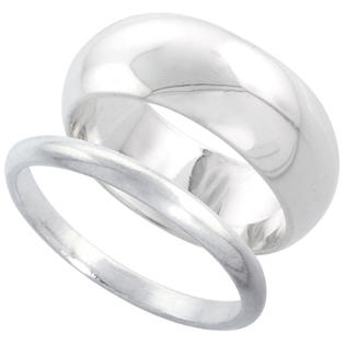 Sabrina Silver Sterling Silver High Dome Wedding Band Ring Set his and Hers 2 mm sizes 4 - 9.5 + 8 mm-sizes 4 - 13.5 at Sears.com