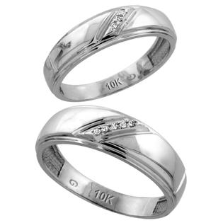 Sabrina Silver 10k White Gold Diamond Wedding Rings Set for him 7 mm and her 5.5 mm 2-Piece 0.05 cttw Brilliant Cut, ladies sizes 5  10, mens at Sears.com