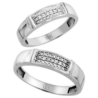 Sabrina Silver 10k White Gold Diamond Wedding Rings Set for him 5 mm and her 4.5 mm 2-Piece 0.06 cttw Brilliant Cut, ladies sizes 5  10, mens at Sears.com