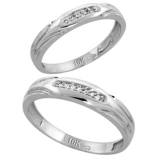 Sabrina Silver 10k White Gold Diamond Wedding Rings Set for him 4.5 mm and her 3.5 mm 2-Piece 0.07 cttw Brilliant Cut, ladies sizes 5  10, men at Sears.com