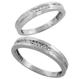 Sabrina Silver 10k White Gold Diamond Wedding Rings Set for him 4 mm and her 3.5 mm 2-Piece 0.07 cttw Brilliant Cut, ladies sizes 5  10, mens at Sears.com