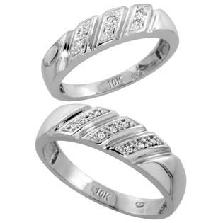 Sabrina Silver 10k White Gold Diamond Wedding Rings Set for him 6 mm and her 5 mm 2-Piece 0.08 cttw Brilliant Cut, ladies sizes 5  10, mens si at Sears.com