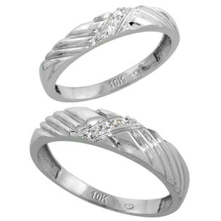 Sabrina Silver 10k White Gold Diamond Wedding Rings Set for him 5 mm and her 3.5 mm 2-Piece 0.05 cttw Brilliant Cut, ladies sizes 5  10, mens at Sears.com