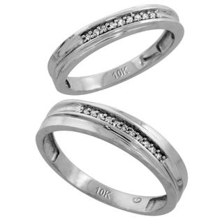 Sabrina Silver 10k White Gold Diamond Wedding Rings Set for him 5 mm and her 3.5 mm 2-Piece 0.07 cttw Brilliant Cut, ladies sizes 5  10, mens at Sears.com