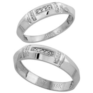 Sabrina Silver 10k White Gold Diamond Wedding Rings Set for him 5.5 mm and her 4 mm 2-Piece 0.05 cttw Brilliant Cut, ladies sizes 5  10, mens at Sears.com