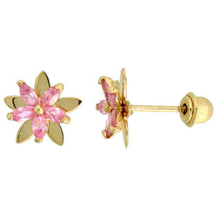 "Sabrina Silver 14k Yellow Gold 5/16"" (8mm) tall Flower Stud Earrings, w/ Marquise Cut Pink Tourmaline-colored CZ Stones at Sears.com"