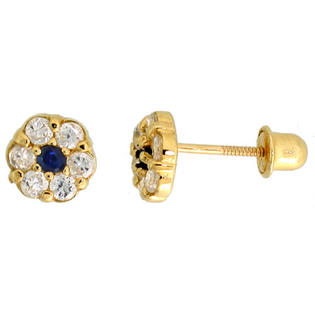 "Sabrina Silver 14k Yellow Gold 1/4"" (6mm) tall Tiny Flower Stud Earrings, w/ Brilliant Cut Clear & Blue Sapphire-colored CZ Stones at Sears.com"