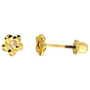 "Sabrina Silver 14k Yellow Gold 3/16"" (5mm) tall Tiny Flower Stud Earrings, w/ CZ Stone at Sears.com"