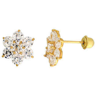"Sabrina Silver 14k Yellow Gold 5/16"" (9mm) tall Flower Stud Earrings, w/ Brilliant Cut CZ Stones at Sears.com"