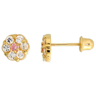 "Sabrina Silver 14k Yellow Gold 1/4"" (6mm) tall Tiny Flower Stud Earrings, w/ Brilliant Cut Clear & Pink Tourmaline-colored CZ Stones at Sears.com"