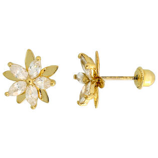 "Sabrina Silver 14k Yellow Gold 3/8"" (9mm) tall Flower Stud Earrings, w/ Marquise Cut CZ Stones at Sears.com"