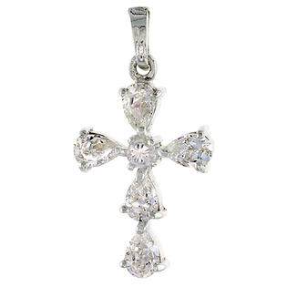 "Sabrina Silver High Polished Sterling Silver 1 1/16"" (26 mm) tall Cross Pendant, w/ 3mm Brilliant Cut & five 6x4mm Pear Cut CZ Stones, w/ 18"" T at Sears.com"