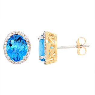 Sabrina Silver 10K Yellow Gold Diamond Natural Swiss Blue Topaz Earrings Oval 8x6 mm at Sears.com