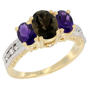 Sabrina Silver 10K Yellow Gold Ladies Oval Natural Smoky Topaz Ring 3-stone with Amethyst Sides Diamond Accent at Sears.com