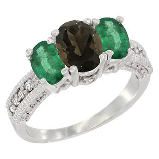 Sabrina Silver 14k Yellow Gold Ladies Oval Natural Smoky Topaz 3-Stone Ring with Emerald Sides Diamond Accent at Sears.com