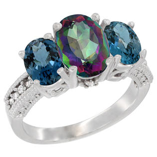 Sabrina Silver 10K White Gold Natural Mystic Topaz Ring Ladies 3-Stone 8x6 Oval with London Blue Topaz Sides Diamond Accent, sizes 5 - 10 at Sears.com