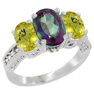 Sabrina Silver 10K White Gold Natural Mystic Topaz Ring Ladies 3-Stone 8x6 Oval with Lemon Quartz Sides Diamond Accent, sizes 5 - 10 at Sears.com