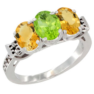Sabrina Silver 10K White Gold Natural Peridot & Citrine Sides Ring 3-Stone Oval 7x5 mm Diamond Accent, sizes 5 - 10 at Sears.com