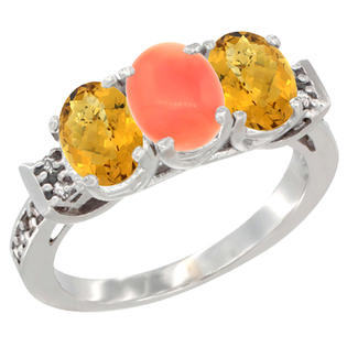 Sabrina Silver 14K Yellow Gold Natural Coral & Whisky Quartz Ring 3-Stone 7x5 mm Oval Diamond Accent, sizes 5 - 10 at Sears.com