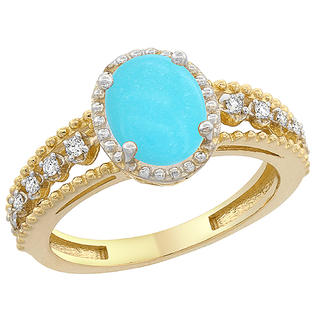 Sabrina Silver 14K Yellow Gold Natural Turquoise Ring Oval 8x6 mm Floating Diamond Accents, sizes 5 - 10 at Sears.com
