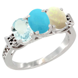 Sabrina Silver 10K White Gold Natural Aquamarine, Turquoise & Opal Ring 3-Stone Oval 7x5 mm Diamond Accent, sizes 5 - 10 at Sears.com