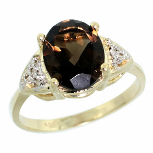 Sabrina Silver 14K Yellow Gold Natural Smoky Topaz Ring Oval 10x8mm Diamond accent 3/8 inch wide, sizes 5-10 at Sears.com