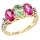 Sabrina Silver 10K Yellow Gold Natural Green Amethyst & Pink Topaz Sides Ring 3-Stone Oval 7x5 mm Diamond Accent, sizes 5 - 10 at Sears.com