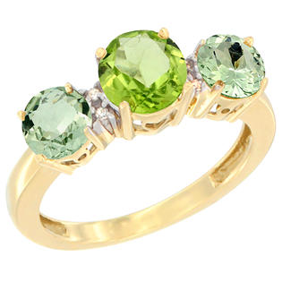 Sabrina Silver 14K Yellow Gold Round 3-Stone Natural Peridot & Green Amethyst Sides Diamond Accent, sizes 5 - 10 at Sears.com