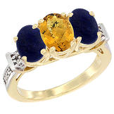 Sabrina Silver 14K Yellow Gold Natural Whisky Quartz & Lapis Sides Ring 3-Stone Oval Diamond Accent, sizes 5 - 10 at Sears.com