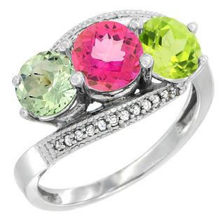 Sabrina Silver 10k White Gold Natural Green Amethyst, Pink Topaz & Peridot 3 stone Ring Round 6mm Diamond Accent, sizes 5 - 10 at Sears.com