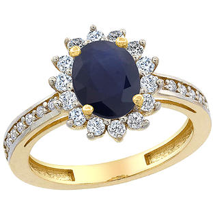 Sabrina Silver 14K Yellow Gold Natural Blue Sapphire Floral Halo Ring Oval 8x6mm Diamond Accents, sizes 5 - 10