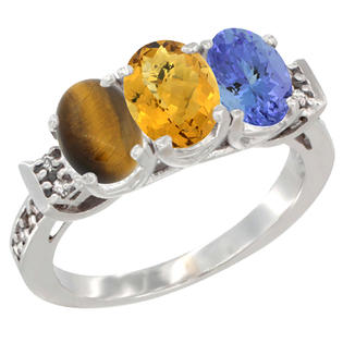 Sabrina Silver 10K White Gold Natural Tiger Eye, Whisky Quartz & Tanzanite Ring 3-Stone Oval 7x5 mm Diamond Accent, sizes 5 - 10 at Sears.com