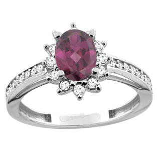 Sabrina Silver 14K White/Yellow Gold Natural Rhodolite Floral Halo Ring Oval 7x5mm Diamond Accent 7/16 inch wide, sizes 5 - 10 at Sears.com