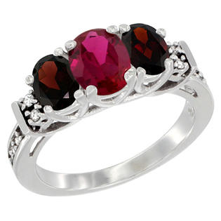 Sabrina Silver 14K White Gold Natural HQ Ruby & Garnet Ring 3-Stone Oval Diamond Accent, sizes 5-10 at Sears.com