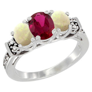 Sabrina Silver 14K White Gold Natural HQ Ruby & Opal Ring 3-Stone Oval Diamond Accent, sizes 5-10 at Sears.com