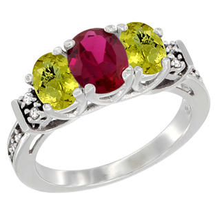 Sabrina Silver 14K White Gold Natural HQ Ruby & Lemon Quartz Ring 3-Stone Oval Diamond Accent, sizes 5-10 at Sears.com