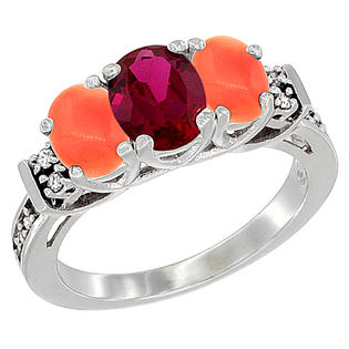Sabrina Silver 14K White Gold Natural HQ Ruby & Coral Ring 3-Stone Oval Diamond Accent, sizes 5-10 at Sears.com