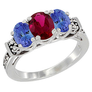 Sabrina Silver 14K White Gold Natural HQ Ruby & Tanzanite Ring 3-Stone Oval Diamond Accent, sizes 5-10 at Sears.com