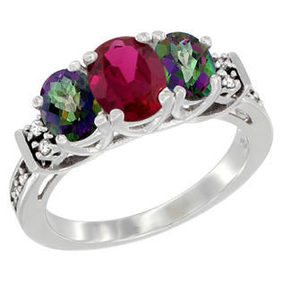 Sabrina Silver 10K White Gold Natural HQ Ruby & Mystic Topaz Ring 3-Stone Oval Diamond Accent, sizes 5-10 at Sears.com