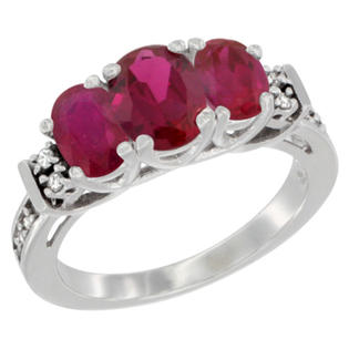 Sabrina Silver 10K White Gold Natural HQ Ruby Ring 3-Stone Oval Diamond Accent, sizes 5-10 at Sears.com