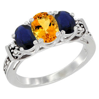 Sabrina Silver 10K White Gold Natural Citrine & HQ Blue Sapphire Ring 3-Stone Oval Diamond Accent, sizes 5-10 at Sears.com