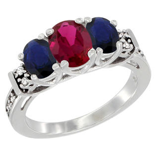 Sabrina Silver 10K White Gold Enhanced Ruby & Natural HQ Blue Sapphire Ring 3-Stone Oval Diamond Accent, sizes 5-10 at Sears.com