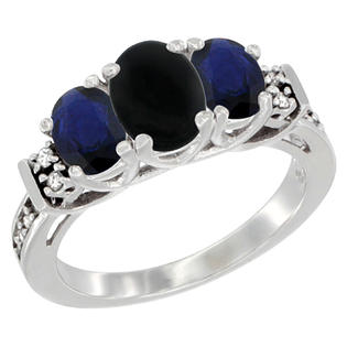Sabrina Silver 10K White Gold Natural Black Onyx & HQ Blue Sapphire Ring 3-Stone Oval Diamond Accent, sizes 5-10 at Sears.com