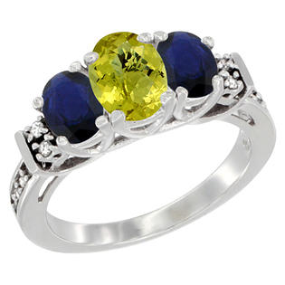 Sabrina Silver 10K White Gold Natural Lemon Quartz & HQ Blue Sapphire Ring 3-Stone Oval Diamond Accent, sizes 5-10 at Sears.com