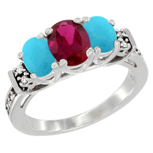 Sabrina Silver 10K White Gold Natural HQ Ruby & Turquoise Ring 3-Stone Oval Diamond Accent, sizes 5-10 at Sears.com