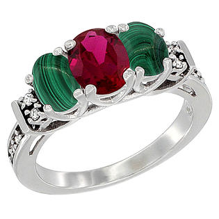 Sabrina Silver 10K White Gold Natural HQ Ruby & Malachite Ring 3-Stone Oval Diamond Accent, sizes 5-10 at Sears.com