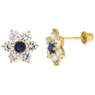 "Sabrina Silver 14k Yellow Gold 5/16"" (9mm) tall Flower Stud Earrings, w/ Brilliant Cut Clear & Blue Sapphire-colored CZ Stones at Sears.com"