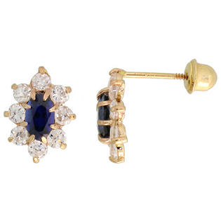 "Sabrina Silver 14k Yellow Gold 3/8"" (10mm) tall Flower Stud Earrings, w/ Oval Cut Blue Sapphire-colored & Brilliant Cut Clear CZ Stones at Sears.com"