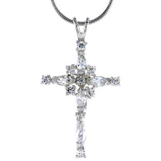 "Sabrina Silver High Polished Sterling Silver 1 1/4"" (32mm) tall Cross Pendant, w/ Marquise Cut & Brilliant Cut CZ Stones, w/ 18"" Thin Box Chain at Sears.com"
