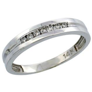 "Sabrina Silver 14k White Gold Men""s Diamond Ring Band w/ 0.15 Carat Brilliant Cut Diamonds, 5/32 in. (4mm) wide at Sears.com"